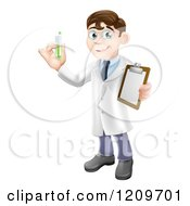 Cartoon Of A Brunette Male Scientist Holding A Clipboard And Test Tube Royalty Free Vector Clipart