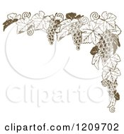 Clipart Of A Brown Grape Vine Corner Border Royalty Free Vector Illustration