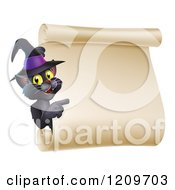 Cartoon Of A Black Cat Wearing A Witch Hat And Pointing To A Halloween Scroll Sign Royalty Free Vector Clipart by AtStockIllustration