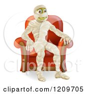 Cartoon Of A Happy Mummy Siting In An Arm Chair Royalty Free Vector Clipart