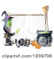 Cartoon Of A Witch Pointing To A White Board Sign With Black Cats Halloween Pumpkins A Cauldron And A Broomstick Royalty Free Vector Clipart by AtStockIllustration