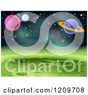 Cartoon Of A Green Cratered Foreign Planet Landscape With Other Planets And Stars Royalty Free Vector Clipart by AtStockIllustration
