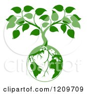 Clipart Of A Green Planet Earth Globe And Tree With Roots Growing From It Royalty Free Vector Illustration