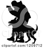 Clipart Of A Black Silhouetted Police Officer Holding A Pistol And Training With His K9 Dog Royalty Free Vector Illustration