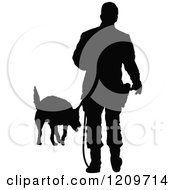 Clipart Of A Black Silhouetted Police Officer Training With His K9 Dog 3 Royalty Free Vector Illustration by Maria Bell