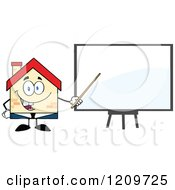 Cartoon Of A Happy Home Businessman Mascot Presenting A Blank Board Royalty Free Vector Clipart