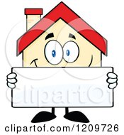 Cartoon Of A Happy Home Mascot Holding A Sign Royalty Free Vector Clipart