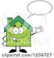 Cartoon Of A Happy Green Brick Home Mascot Waving And Talking Royalty Free Vector Clipart