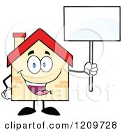 Cartoon Of A Happy Home Mascot Holding Up A Sign Royalty Free Vector Clipart