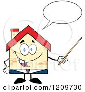 Cartoon Of A Happy Home Businessman Mascot Talking And Holding A Pointer Stick Royalty Free Vector Clipart