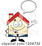 Cartoon Of A Happy Home Businessman Mascot Talking And Waving Royalty Free Vector Clipart