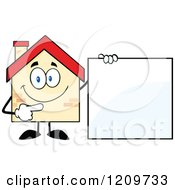 Cartoon Of A Happy Home Mascot Pointing To A Sign Royalty Free Vector Clipart