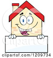 Cartoon Of A Happy Home Mascot Over A Sign Royalty Free Vector Clipart
