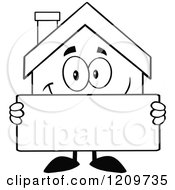 Cartoon Of A Black And White Happy Home Mascot Holding A Sign Royalty Free Vector Clipart