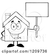 Cartoon Of A Black And White Happy Home Mascot Holding Up A Sign Royalty Free Vector Clipart