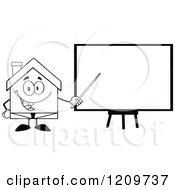 Cartoon Of A Black And White Happy Home Businessman Mascot Presenting A Blank Board Royalty Free Vector Clipart