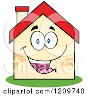 Cartoon Of A Happy Home Mascot Royalty Free Vector Clipart