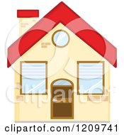 Cartoon Of A Small Home With A Red Roof Royalty Free Vector Clipart