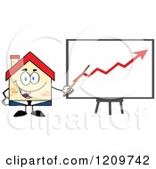 Cartoon Of A Happy Home Businessman Mascot Presenting An Increase Chart Royalty Free Vector Clipart