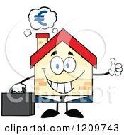 Cartoon Of A Happy Home Businessman Mascot Holding A Thumb Up Under A Euro Cloud Royalty Free Vector Clipart