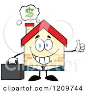 Cartoon Of A Happy Home Businessman Mascot Holding A Thumb Up Under A Dollr Cloud Royalty Free Vector Clipart