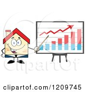 Cartoon Of A Happy Home Businessman Mascot Presenting A Growth Chart Royalty Free Vector Clipart