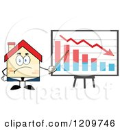 Cartoon Of A Happy Home Businessman Mascot Presenting A Loss Chart Royalty Free Vector Clipart
