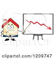 Cartoon Of A Happy Home Businessman Mascot Presenting A Decline Chart Royalty Free Vector Clipart