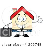 Cartoon Of A Happy Home Businessman Mascot Holding A Thumb Up Royalty Free Vector Clipart