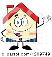 Cartoon Of A Happy Home Businessman Mascot Waving Royalty Free Vector Clipart