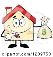 Cartoon Of A Happy Home Mascot Holding A Money Bag Royalty Free Vector Clipart