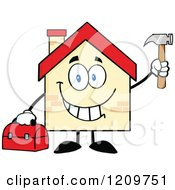 Cartoon Of A Happy Home Mascot Holding A Tool Box And Hammer Royalty Free Vector Clipart