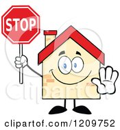 Cartoon Of A Happy Home Mascot Holding A Stop Sign Royalty Free Vector Clipart