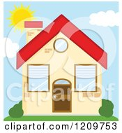 Cartoon Of A Small Home On A Sunny Day Royalty Free Vector Clipart by Hit Toon