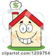 Cartoon Of A Happy Home Mascot With A Dollar Symbol Above The Chimney Royalty Free Vector Clipart by Hit Toon