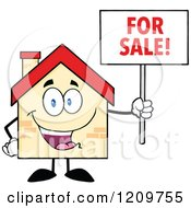 Cartoon Of A Happy Home Mascot Holding A For Sale Sign Royalty Free Vector Clipart by Hit Toon