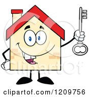 Cartoon Of A Happy Home Mascot Holding A Key Royalty Free Vector Clipart by Hit Toon