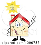 Cartoon Of A Happy Home Mascot With An Idea Royalty Free Vector Clipart by Hit Toon