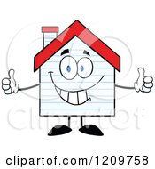 Cartoon Of A Happy Home Mascot With New Siding Holding A Thumb Up Royalty Free Vector Clipart by Hit Toon