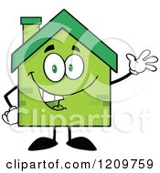 Cartoon Of A Happy Green Brick Home Mascot Waving Royalty Free Vector Clipart by Hit Toon
