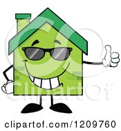 Cartoon Of A Cool Green Brick Home Mascot Holding A Thumb Up Royalty Free Vector Clipart by Hit Toon