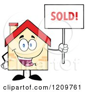 Cartoon Of A Happy Home Mascot Holding A Sold Sign Royalty Free Vector Clipart by Hit Toon