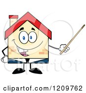 Cartoon Of A Happy Home Businessman Mascot Holding A Pointer Stick Royalty Free Vector Clipart