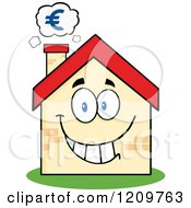 Cartoon Of A Happy Home Mascot With A Euro Symbol Above The Chimney Royalty Free Vector Clipart by Hit Toon