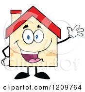 Cartoon Of A Happy Home Mascot Waving Royalty Free Vector Clipart by Hit Toon