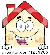 Cartoon Of A Happy Home Mascot Smiling Over A Sign Royalty Free Vector Clipart by Hit Toon