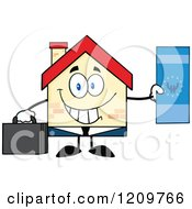 Cartoon Of A Happy Home Businessman Mascot Holding A Euro Bill Royalty Free Vector Clipart