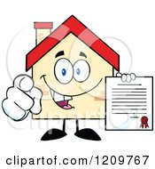 Happy Home Mascot Holding A Contract And Pointing Outwards
