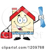 Cartoon Of A Happy Home Mascot Worker Holding Blueprints And A Tool Box Royalty Free Vector Clipart by Hit Toon