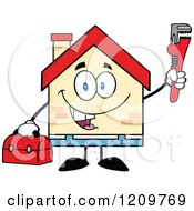 Happy Home Mascot Plumber Holding A Monkey Wrench And Tool Box